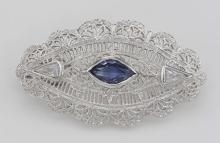 Beautiful Syn Blue Sapphire Filigree Pin / Brooch or Pendant Sterling Silver #97626v2