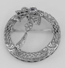Antique Victorian Style Blue Sapphire Wreath Pin - Sterling Silver #98095v2