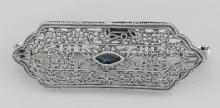 Art Deco Style Filigree Blue Sapphire Pin / Brooch - Sterling Silver #98091v2
