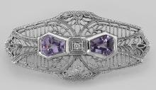 Victorian Style Amethyst Filigree Pin - Brooch - Sterling Silver #98096v2