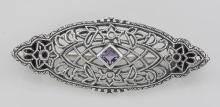 Antique Victorian Style Amethyst Pin / Brooch - Sterling Silver #98081v2