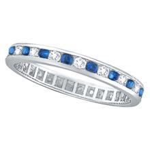 1.04ct Blue Sapphire and Diamond Channel Set Eternity Band Palladium #21195v3