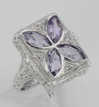Art Deco Style Filigree Ring w/ amethyst & diamond - Sterling Silver #98107v2