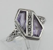Unique Art Deco Style Amethyst & Diamond Filigree Ring - Sterling Silver #98128v2