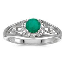 Certified 14k White Gold Round Emerald And Diamond Ring #25497v3