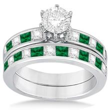 Channel Emerald and Diamond Bridal Set 18k White Gold (1.10ct) #21240v3