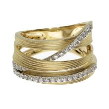 Certified 14k Yellow Gold Brushed Wide Diamond Ring #25385v3