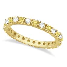 Fancy Yellow Canary and White Diamond Eternity Ring Band 14K Gold 1/2ct #21247v3