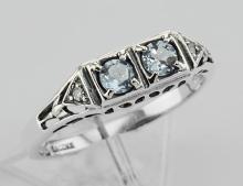 Art Deco Style Blue Topaz Filigree Ring w/ 2 Diamonds - Sterling Silver #98114v2
