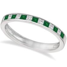 Channel Set Diamond and Emerald Ring Band 14k White Gold (0.60ct) #21243v3