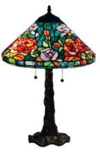 TIFFANY-STYLE ROSES DESIGN TABLE LAMP 24 INCHES TALL #99525v2