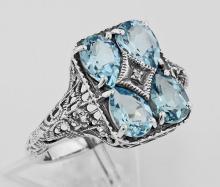 Art Deco Blue Topaz with Diamond Filigree Ring - Sterling Silver #98127v2