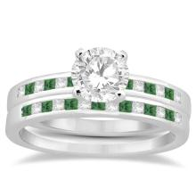 Princess Cut Diamond and Emerald Bridal Ring Set 14k White Gold (0.54ct) #21180v3