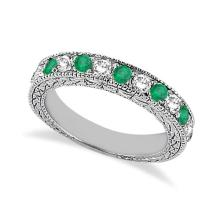 Antique Diamond and Emerald Wedding Ring 14kt White Gold (1.03ct) #21262v3