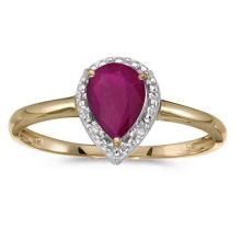 Certified 14k Yellow Gold Pear Ruby And Diamond Ring 0.52 CTW #51407v3
