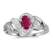 Certified 14k White Gold Oval Ruby And Diamond Swirl Ring 0.37 CTW #51244v3
