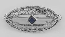 Antique Style Filigree Blue Sapphire Pin / Brooch - Sterling Silver #98093v2
