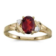 Certified 10k Yellow Gold Oval Garnet And Diamond Ring 0.74 CTW #51341v3