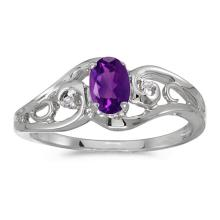 Certified 14k White Gold Oval Amethyst And Diamond Ring 0.35 CTW #51189v3