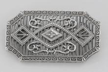 Art Deco Style Filigree Diamond Pin / Brooch - Sterling Silver #98088v2
