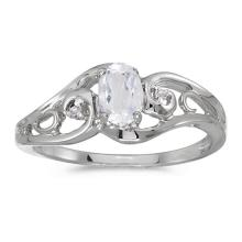 Certified 14k White Gold Oval White Topaz And Diamond Ring 0.49 CTW #51166v3