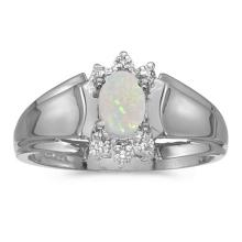 Certified 14k White Gold Oval Opal And Diamond Ring 0.2 CTW #51269v3