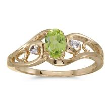 Certified 14k Yellow Gold Oval Peridot And Diamond Ring 0.41 CTW #51229v3