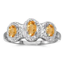 Certified 10k White Gold Oval Citrine And Diamond Three Stone Ring 0.44 CTW #51412v3