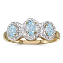 Certified 14k Yellow Gold Oval Aquamarine And Diamond Three Stone Ring 0.43 CTW #51392v3