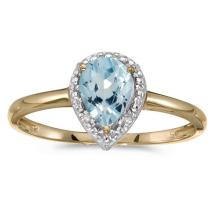 Certified 14k Yellow Gold Pear Aquamarine And Diamond Ring 0.51 CTW #51425v3