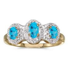 Certified 14k Yellow Gold Oval Blue Topaz And Diamond Three Stone Ring 0.58 CTW #51359v3