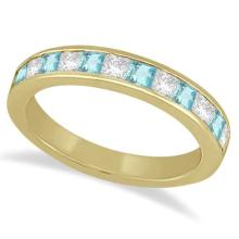 Channel Aquamarine and Diamond Wedding Ring 18k Yellow Gold (0.70ct) #69785v3