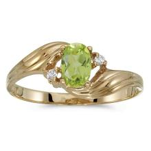 Certified 10k Yellow Gold Oval Peridot And Diamond Ring 0.42 CTW #51165v3