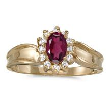 Certified 10k Yellow Gold Oval Rhodolite Garnet And Diamond Ring 0.63 CTW #51362v3