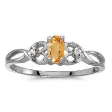 Certified 14k White Gold Oval Citrine And Diamond Ring 0.17 CTW #51355v3