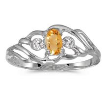 Certified 10k White Gold Oval Citrine And Diamond Ring 0.16 CTW #51228v3
