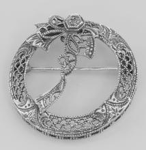 Antique Victorian Style Diamond Wreath Pin - Sterling Silver #98094v2