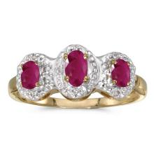 Certified 14k Yellow Gold Oval Ruby And Diamond Three Stone Ring 0.59 CTW #51382v3