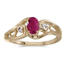 Certified 14k Yellow Gold Oval Ruby And Diamond Ring 0.37 CTW #51233v3