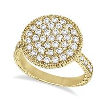 Diamond Large Circle Cocktail Right-Hand Ring 14k Yellow Gold (1.51ct) #53626v3