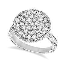 Diamond Large Circle Cocktail Right-Hand Ring 14k White Gold (1.51ct) #53625v3
