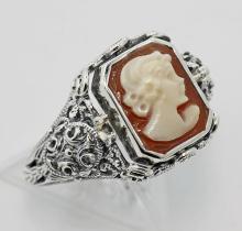 Hand Carved Italian Cameo / Onyx Filigree Flip Ring - Sterling Silver #98125v2