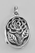 Sterling Silver Filigree Rose Oval Locket - Aromatherapy Locket #98186v2