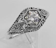 CZ Filigree Ring Art Deco Style w/ 4 Diamonds - Sterling Silver #98116v2