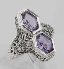 Art Deco Style Genuine Purple Amethyst Filigree Ring - Sterling Silver #98137v2