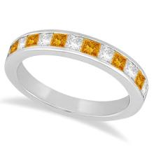 Channel Citrine and Diamond Wedding Ring Platinum (0.70ct) #69732v3