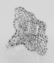 Lovely Victorian Style Filigree Ring w/ Diamond - Sterling Silver #98140v2