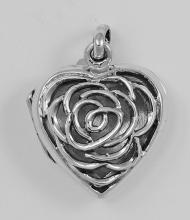 Sterling Silver Rose Heart Filigree Locket #98181v2