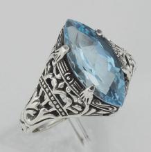 Antique Victorian Style Blue Topaz Filigree Ring - Sterling Silver #98126v2