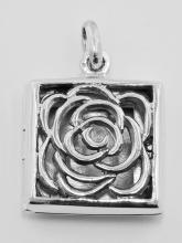 Sterling Silver Filigree Square Rose Locket #98184v2